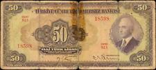 TURKEY P-142 LAW OF 11 HAZIRAN 50 TURK LIRASI L.1930 25.4.1942 BANKNOTE INONU