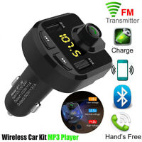 12-24V LCD Car Wireless Bluetooth FM Transmitter Radio Adapter Dual USB Charger