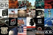 ROUTE 66 - MOSAIC POSTER - 24x36 COLLAGE USA FREEDOM ROAD CAR 22879