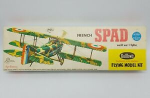 Guillow's French SPAD WWI Fighter Flying Balsa Model Airplane Kit Unbuilt 1960's