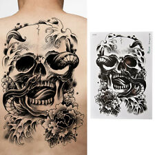 Waterproof Black Scary Skull Temporary Tattoo Large Arm Body Art Sticker PFBN