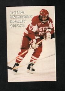 Boston University Terriers--David Sacco--1992-93 Hockey Schedule--Sullivan Tire