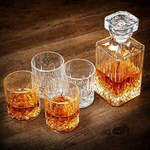 Whiskey Decanter Set w/ 4 Glasses Gift Box Lead Free Ultra Clarity Crystal Set
