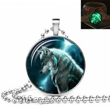 UK GLOW IN THE DARK WOLF LARGE PENDANT NECKLACE / Jewellery Gift Idea Nordic