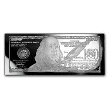 BRAND NEW - 4 oz Silver Bar - 2018 $100 Bill (w/Box & COA)