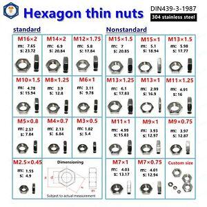 M2 M3 M4 M5 M6 M7 M8 M9 M10 M12 M14 M15 304 Stainless Steel Hex Nut Thin Hex Nut