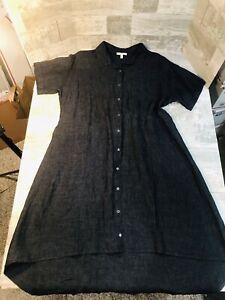 Eileen Fisher 100% Linen Denim Look Chambray Collared Shirt Dress Size M Buttons