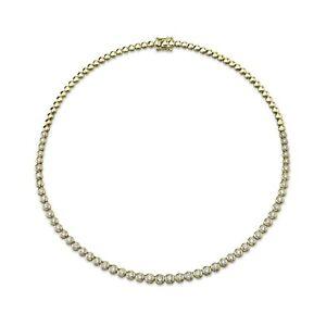Diamond Bezel Tennis Necklace 14k Yellow Gold Natural Round Cut 3.53ct F VS2