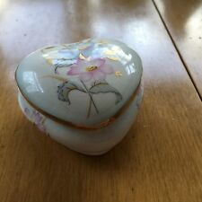 Royal Worcester Co Palissy  Covered Heart Shaped Trinket Box Dish England