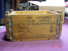 Vintage Military 30 Cal Carbine Wooden Ammo Shell Box Bandoleers Tacal Empty