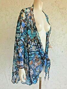 ALBERTO MAKALI Aqua Blue Print Oversized Kimono Jacket Size S