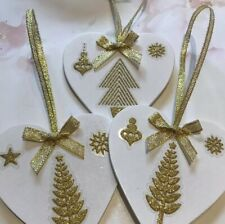 3 X Christmas Tree Decorations Handmade Shabby Chic Real Wood Tree Decals Gold