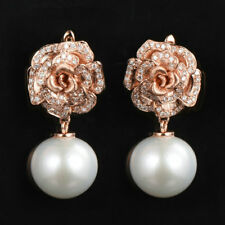Solid 14K Rose Gold 13MM Natural Freshwater Pearl Diamond Lever Back Earrings