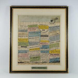 RARE Georgian Engraving, 'Cross Readings' Circa 1830 Quirky