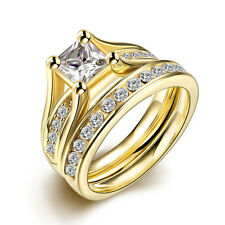 2 Pcs/Set Steel Gold Plated Marriage Wedding Rings With Zircon LS