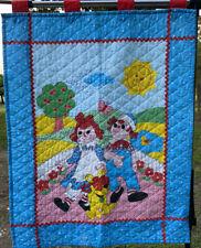 "New listing Vtg Handmade Raggedy Ann and Andy Nursery Wall Hanging Baby Blanket 33""x 41�"