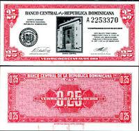 DOMINICAN REPUBLIC 25 CENTAVOS ND 1961 P 87 UNC