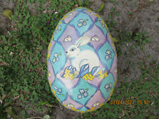Vintage German Paper Mache Easter Egg Candy Container~Purple/Green With Rabbits