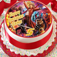GUARDIANS OF THE GALAXY BIRTHDAY PERSONALISED 7.5 INCH EDIBLE CAKE TOPPER B-005G