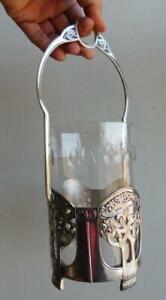Superb Jugendstil WMF EP Silver & Glass Tall Pickle Jar Basket Vase Art Nouveau