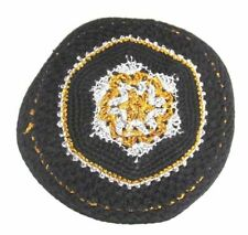 Yamaka Kippah Knit Crochet Black Gold White Jewish Cap
