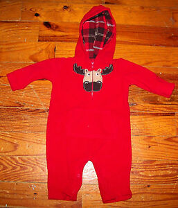 Boys CARTER'S Solid Red Fleece & Brown Moose One-Piece Hoodie Outfit 6 Months