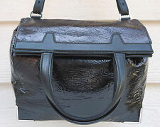 NEW $950 Alexander Wang Prisma Black Foil Coated Leather Lunch Bag Tote