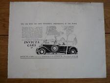 "INVICTA CAR ORIGINAL ""RUSH OR ADVERT SAMPLE, 1930'S  No 2 jm"
