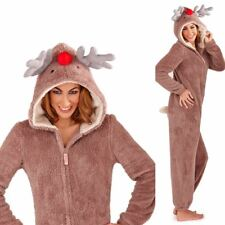 Mujeres/Damas Reno Animal Novedad Suave Lana Loungewear Pijama Todo en Uno UK
