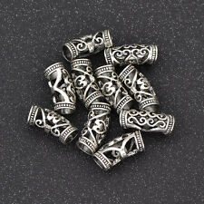 Hair Braid Beads Dreadlock Bead Cuff Clip Metal Hair Braid Rings Sliver 10pcs