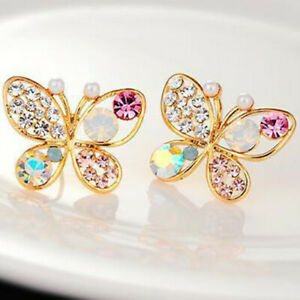 Fashion 1pair Colorful Crystal  Butterfly Stud Earring Womens Party Jewerly