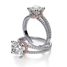 1.4ctNatural Cushion Cut Cut Split Shank Collar Pave Diamond Engagement Ring GIA