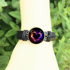Glass Cabochon Leather Charm Bracelet Sale Heart Black Bangle 20 mm