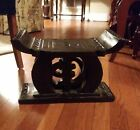 Beautiful Vintage Solid Wood Carved Asian Oriental Stool Stand Seat