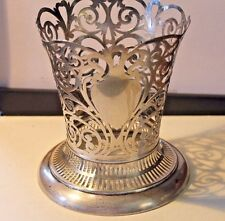 Beautiful Antique Reticulated & Pierced Work Sterling Silver Vase Holder .
