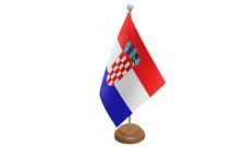 Croazia PICCOLO DA TAVOLO BANDIERA CON di legno supporto