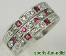 Estate 18K 14K Diamond & Ruby White Gold Eternity Triple Band Ring Sz.6.75