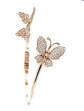 Triple Butterfly Diamond Bangle Bracelet 14k Gold