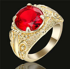 Vintage Big Oval Red Stone Ruby Engagement Ring 18K Yellow Gold Filled Size 9