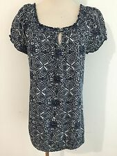 Lucky Brand Key-Hole Peasant Top Blouse Navy & White Floral Cotton Size L