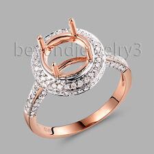 Solid 14K Rose Gold Natural Diamond Engagement Wedding Semi Mount Ring Round 9MM