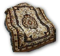 "DaDa Bedding Elegant Golden Persian Rug Floral Tapestry Throw Blanket, 50"" x 60"""