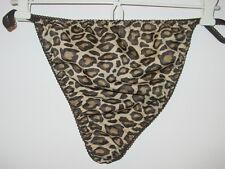 Custom brown tan leopard print satin g-string style thong undie sissy-2X