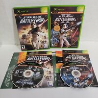 Lot of 2 - Original XBOX Star Wars Battlefront 1 + II (2) CIB Complete LucasArts