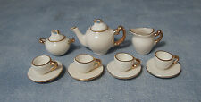 1:12 Ceramic 11 Piece White With Gold Edging Dolls House Miniature Tea Set 2187