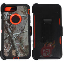 For Apple iPhone 8 Orange/Tree Camo Defender Case(Clip Fits OtterBox)