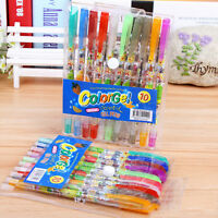 10x Assorted Color Shine Glitter Sparkled Gel Pens School Stationary  EB