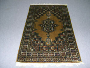 3'x5' Gold Color Hand Knotted Home Décor Traditional Wool Rugs Oriental Carpet
