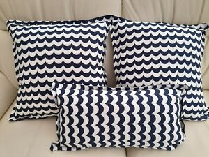 Navy/White Nautical Wave Striped Cushion Cover Set. Price is for all 3.