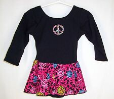 Girls Jaques Moret Skirted Leotard 4/5 XS Peace Signs Dance